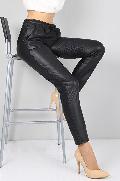 IŞILDA Kadın Siyah Beli Lastikli Düz Paça Deri Pantolon 2