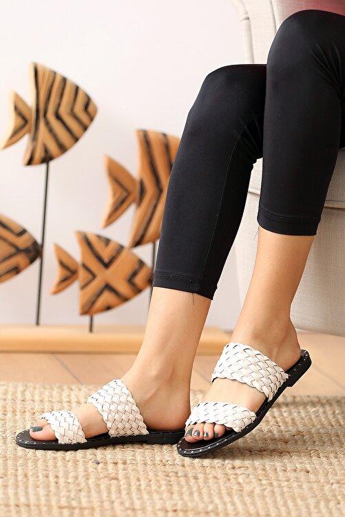Pembe Potin Krem Kadın Sandalet 1