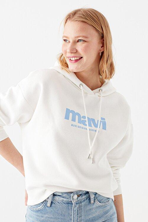 Mavi Logo Baskılı Beyaz Sweatshirt 168334-33389 2