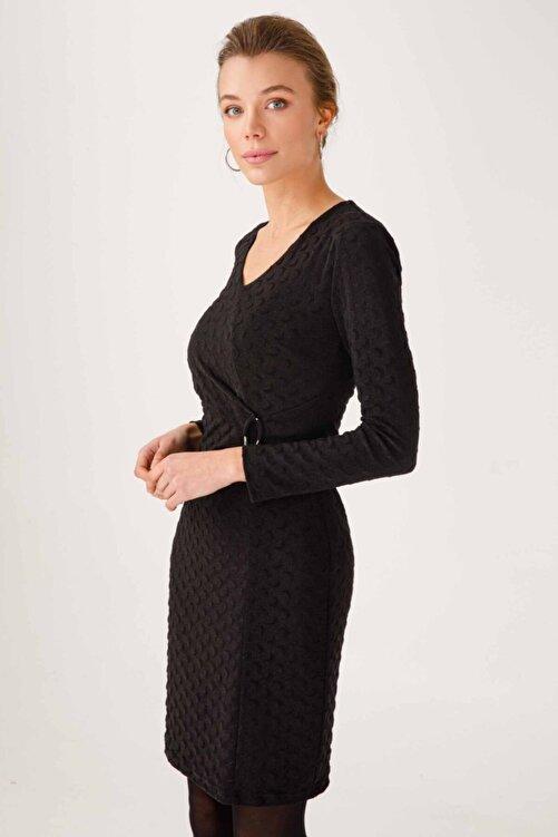 Ekol 21k.ekl.elb.04005.1 Uzun Kol Orta Desenli Siyah Elbise 2