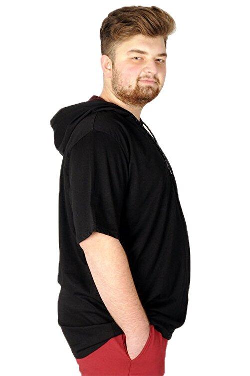 ModeXL Büyük Beden Tshirt Bisiklet Yaka Kapşon Basic 21115 Siyah 1