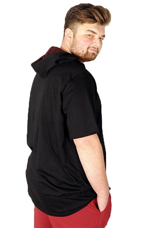 ModeXL Büyük Beden Tshirt Bisiklet Yaka Kapşon Basic 21115 Siyah 2