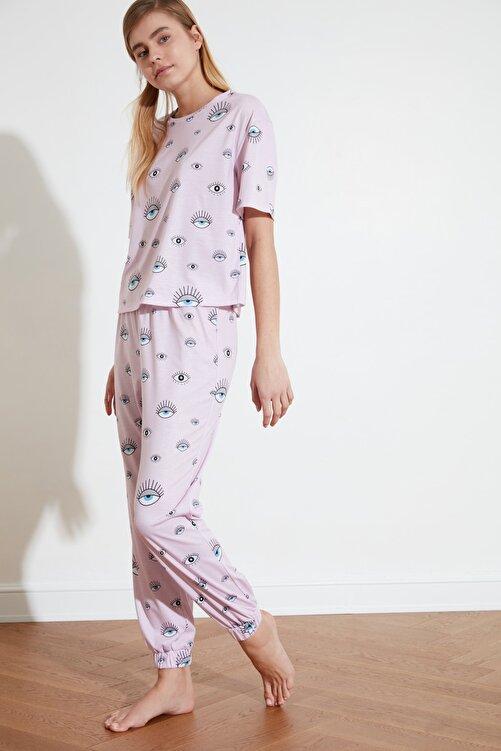 TRENDYOLMİLLA Pudra Grafik Baskılı Örme Pijama Takımı THMSS21PT0236 2