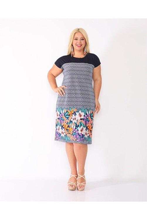 Dükkan Moda Kadın Lacivert Eteği Turuncu Çiçekli Elbise 1