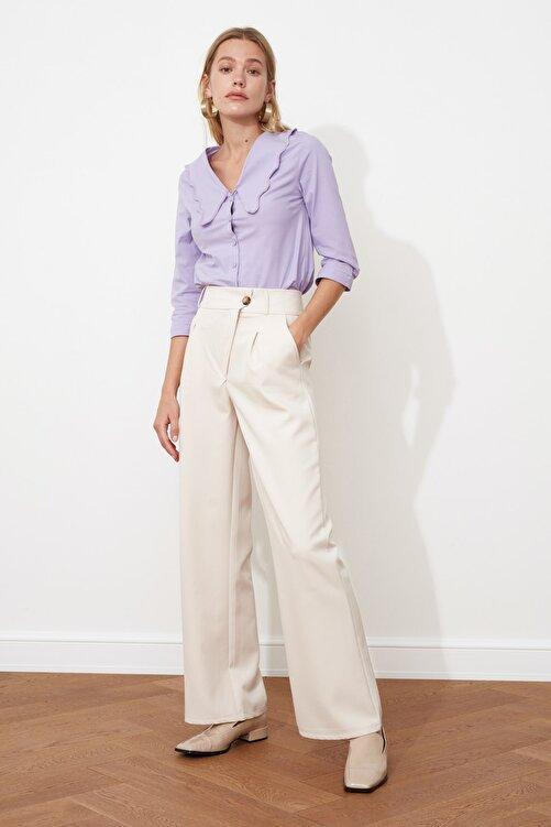 TRENDYOLMİLLA Taş Asimetrik Kapamalı Pileli Pantolon TWOSS21PL0100 1
