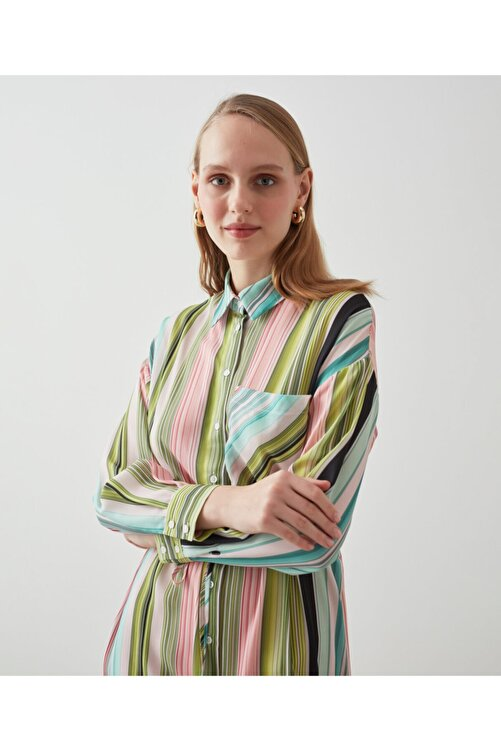 MISS IPEKYOL Çizgi Desen Gömlek Elbise 2