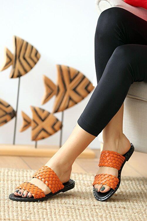 Pembe Potin Turuncu Kadın Sandalet 1