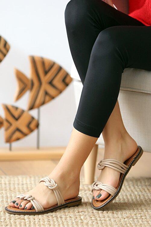 Pembe Potin Bej Kadın Sandalet 2