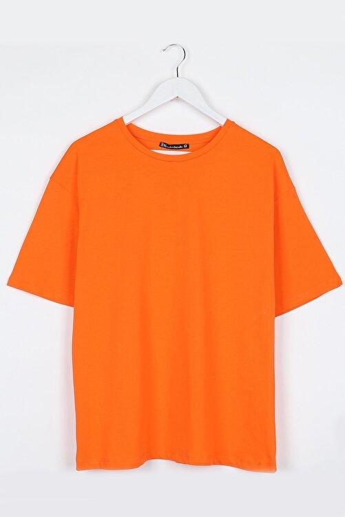 Sekizbiraltı Turuncu Kadın Basic Oversize Tshirt 1