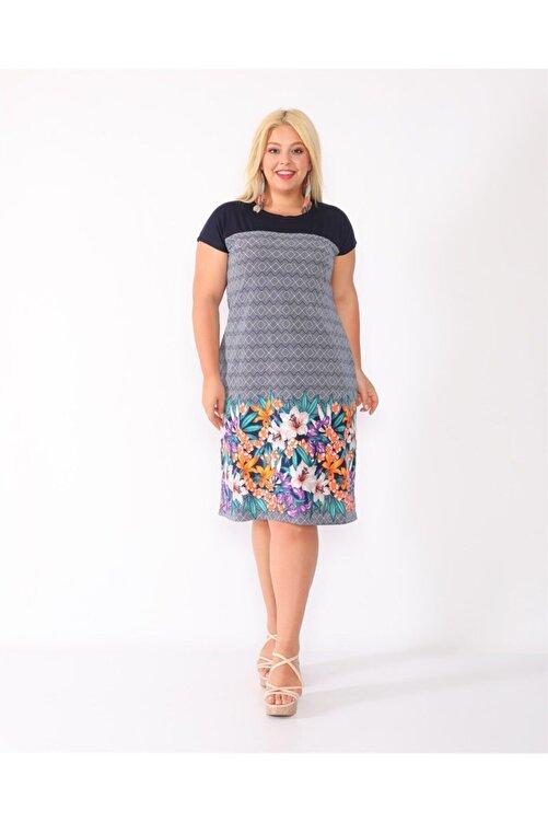 Dükkan Moda Kadın Lacivert Eteği Turuncu Çiçekli Elbise 2