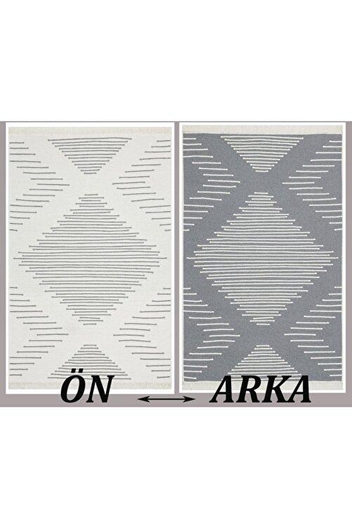 MORCILEK 15 Grey %100 Geri Dönüşümlü Pamuktan Çift Taraflı Yıkanabilir Modern Dekoratif Kilim 80 X 300 1