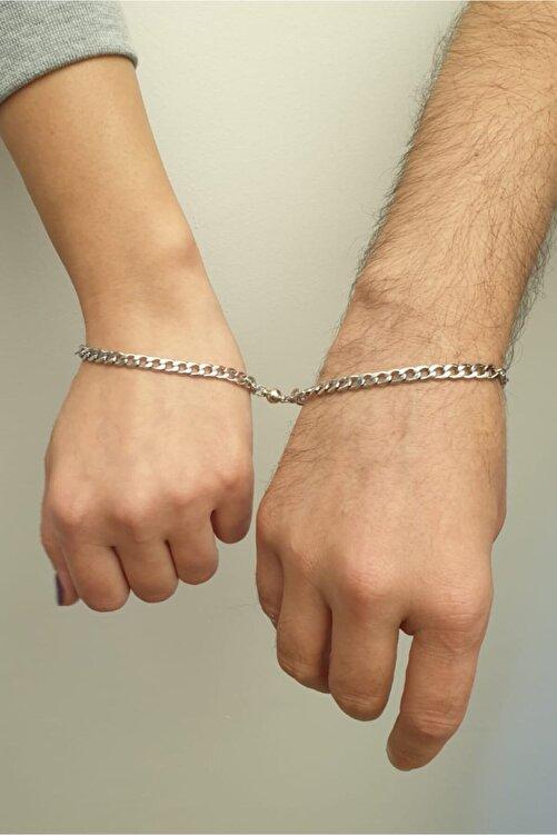 modadern Unisex Beyaz Çelik Mıknatıslı Çift Sevgili Bilekliği 2