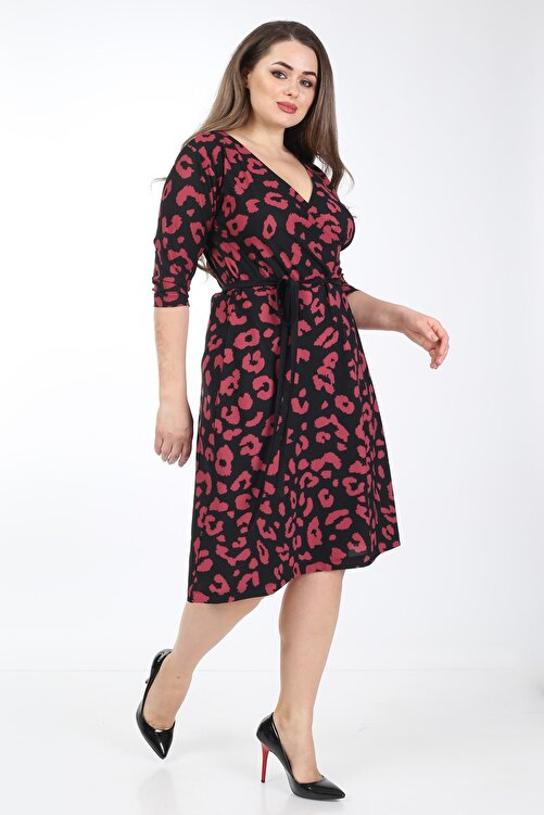 Mooi XXL Kadın Fuşya Benek Desenli Kruvaze Yaka Elbise 1
