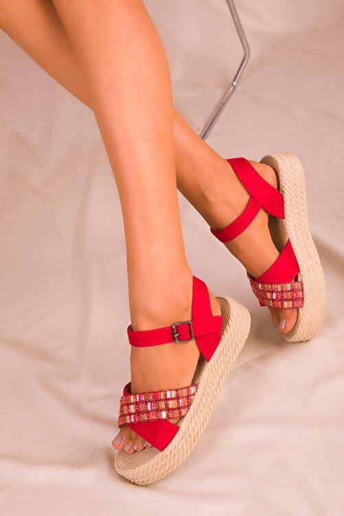 SOHO Kırmızı Süet Kadın Sandalet 14953 2