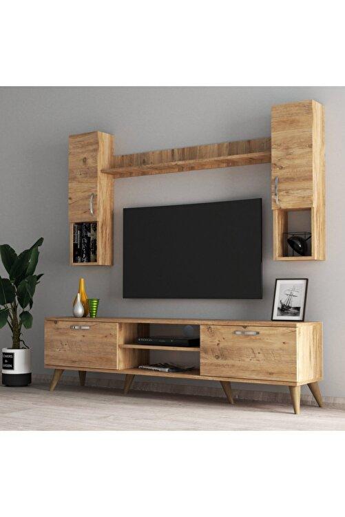 Tanmob Mega 180 Lik Kapaklı Raflı Tv Ünitesi Çam - Tvu0202 1