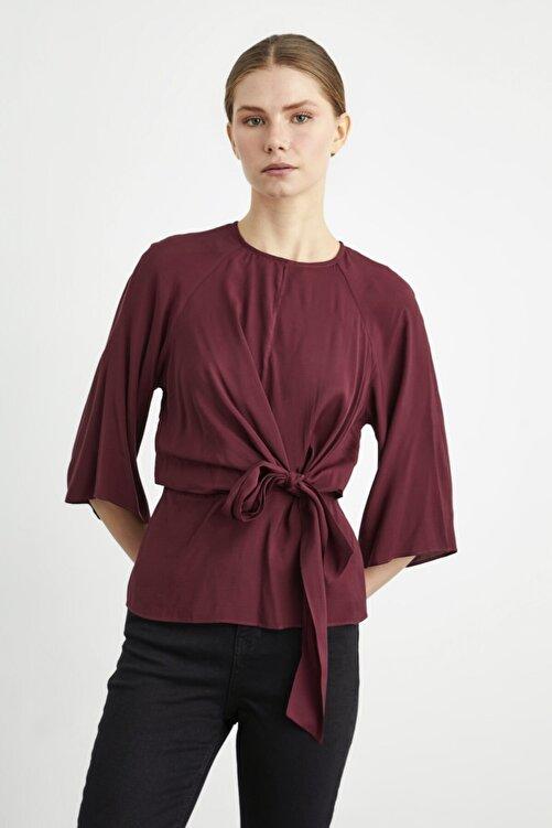 adL Kadın Bordo Önden Bağlamalı Bluz 1