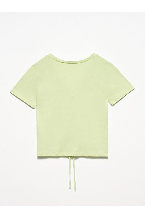 Dilvin 3551 Kadın  Yeşil V Yaka Önü Bağcıklı T-shirt 2