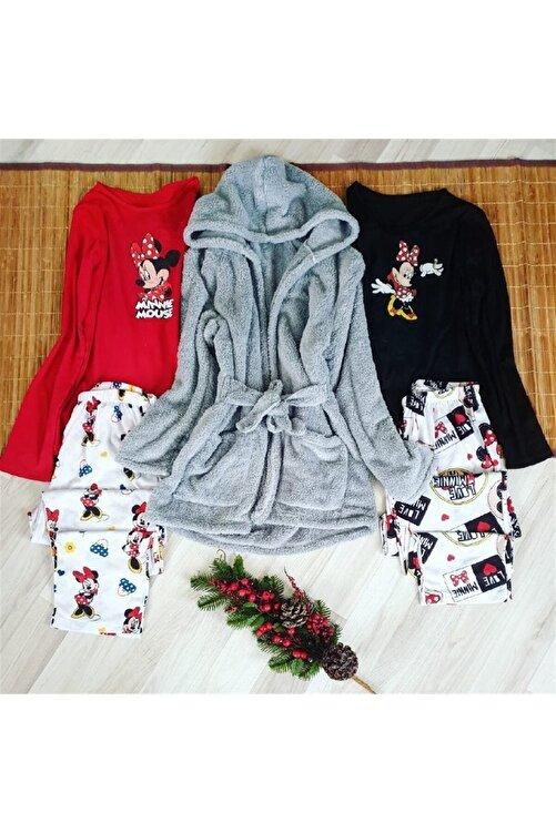 NO BRAND Kadın Gri Peluş Sabahlıklı 2'li Penye Pijama Set 1
