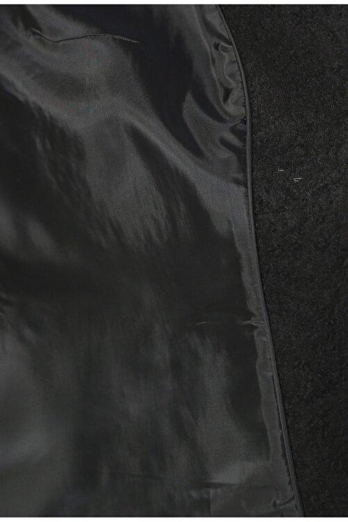 Fabrika Dik Yaka Düz Siyah Kaban 2