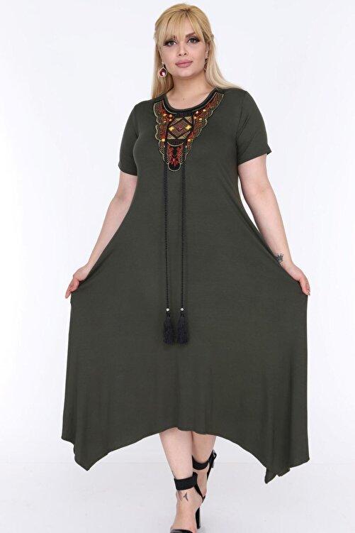1fazlası Kadın Büyük Beden Haki Etnik Desen Detaylı Bohemian Tarz Elbise 1
