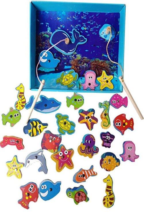 WoodyLife 32'li Havuzlu Ahşap Mıknatıslı Balık Tutma Kutulu Çocuk Oyunucak 1