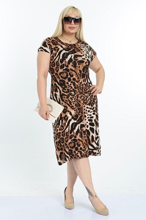 Mooi XXL Kadın Leopar Desen Büyük Beden Elbise 2