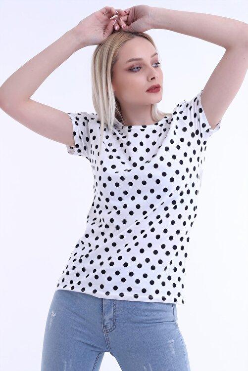 Moda Hitap Kadın Beyaz Renk Siyah Puantiyeli Kısa Kol T-shirt 2