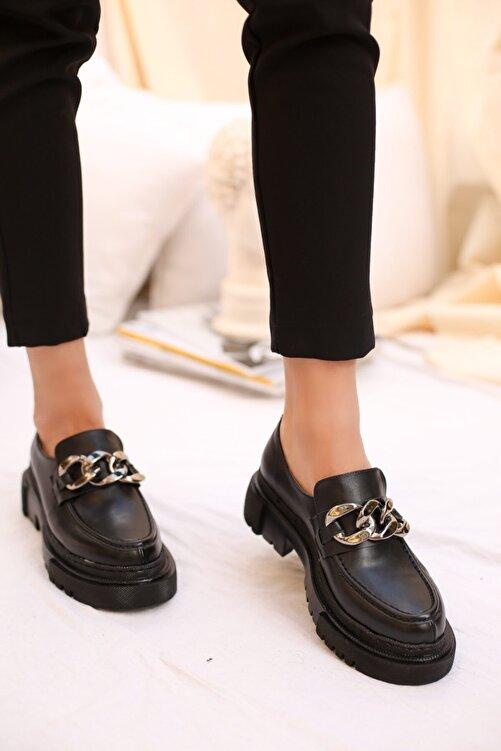 SABELİN SHOES Kadın Siyah Zincirli Kalın Kabanlı Loafer Ayakkabı 2