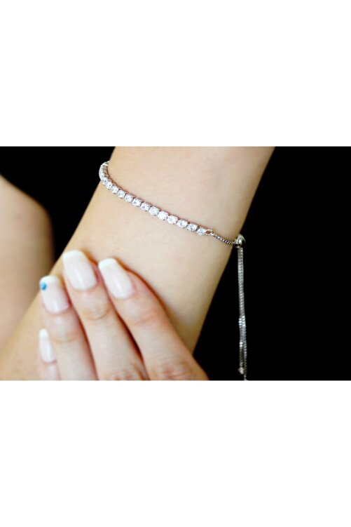 ARGON JEWELLERY Kadın Gümüş 925 Ayar Asansörlü Zirkon Taşlı Kadın Gümüş Bileklik 1