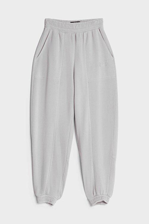 Bershka Kadın Gri Reflektör Jogging Fit Pantolon 2