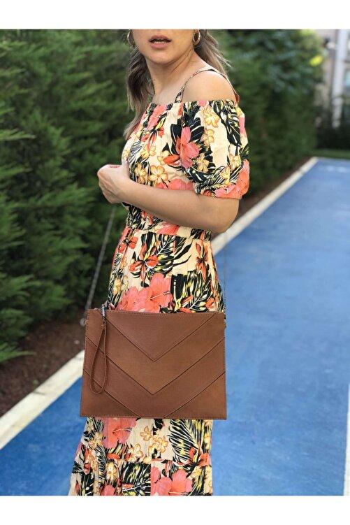 womenacs Taba Renk Süet Kadın Abiye Portföy Clutch Çanta Fermuarlı Uzun Askılı Indirimli 2