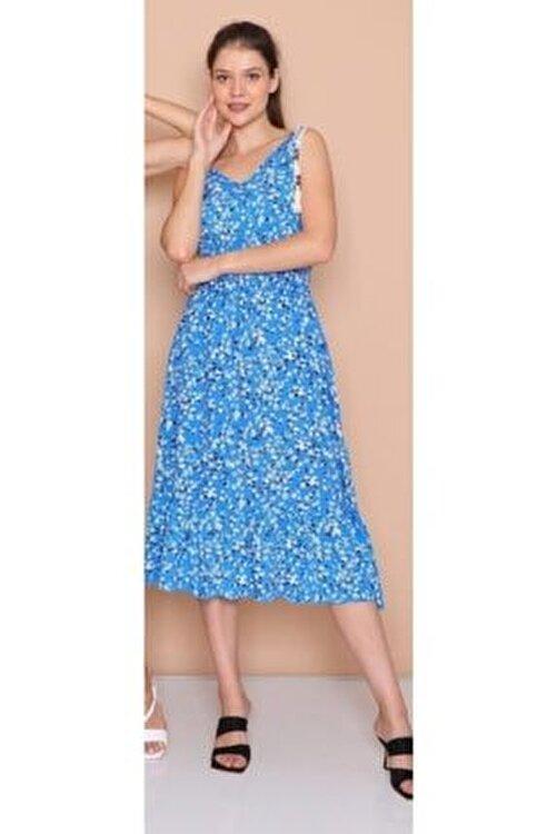 Hepsibitarz Kadın Mavi Kolsuz Pamuk Dokuma Elbise 1