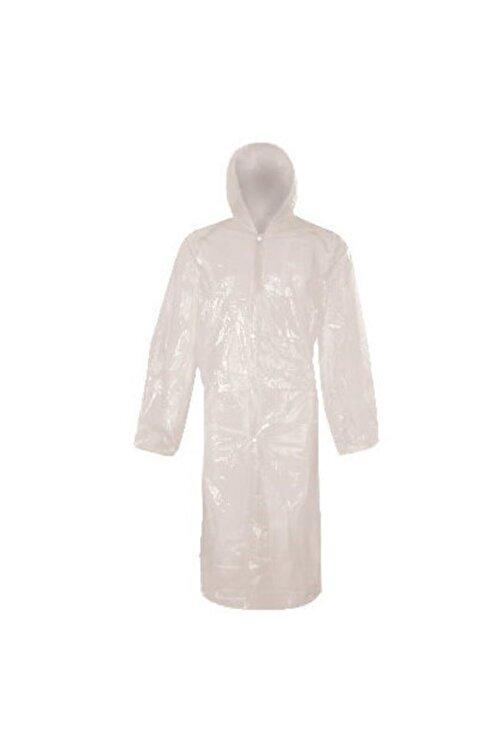 PR Unisex Beyaz Çıtçıtlı Kullan At Tek Kullanımlık Yağmurluk 5 Adet 1