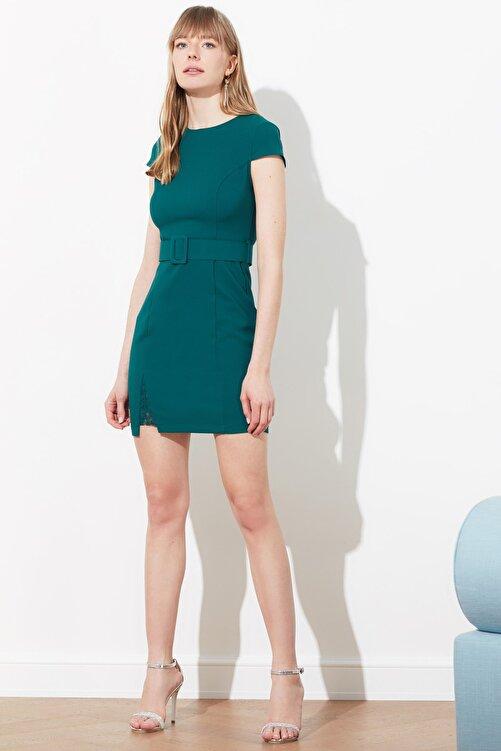 TRENDYOLMİLLA Yeşil Kemerli Dantel Detaylı Elbise TWOAW20EL0313 2