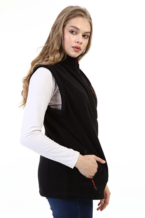 GENIUS Store Kadın Polar Yelek Tam Fermuarlı Outdoor Spor Yelek 3cepli 2