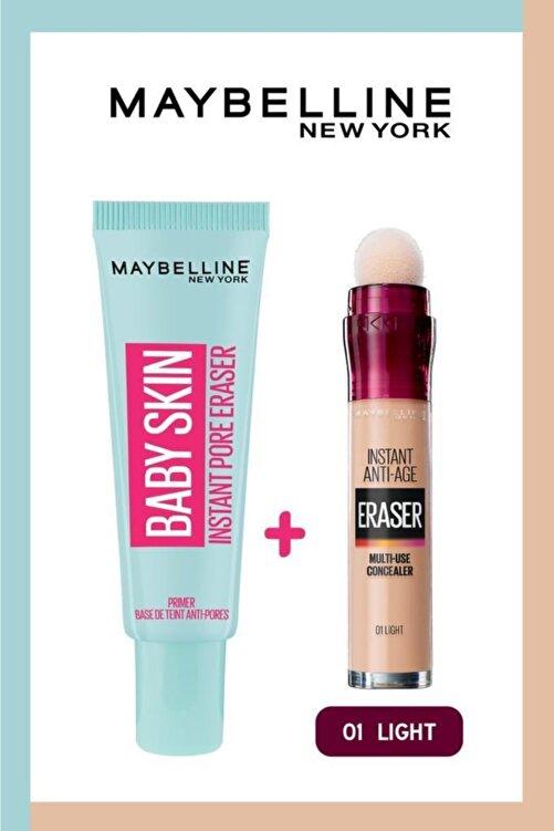 Maybelline New York Baby Skin Makyaj Bazı + Instant Anti Age Eraser Kapatıcı 01 Light 1
