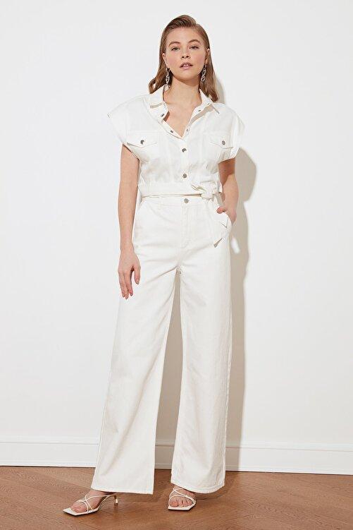 TRENDYOLMİLLA Beyaz Yüksek Bel Wide Leg Jeans TWOSS21JE0567 1