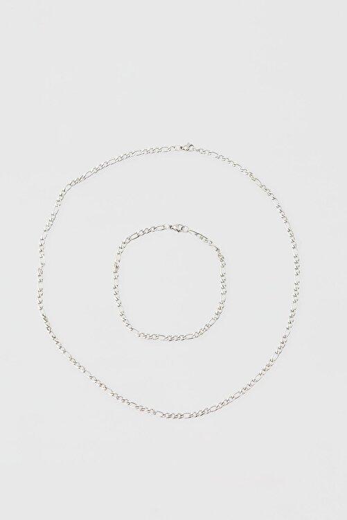 Pull & Bear Gümüş Rengi Kolye Ve Bileklik Seti 1