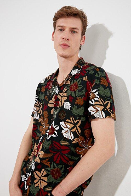 TRENDYOL MAN Çok Renkli Erkek Regular Fit Apaş Yaka Çiçekli Gömlek TMNSS21GO0489 2