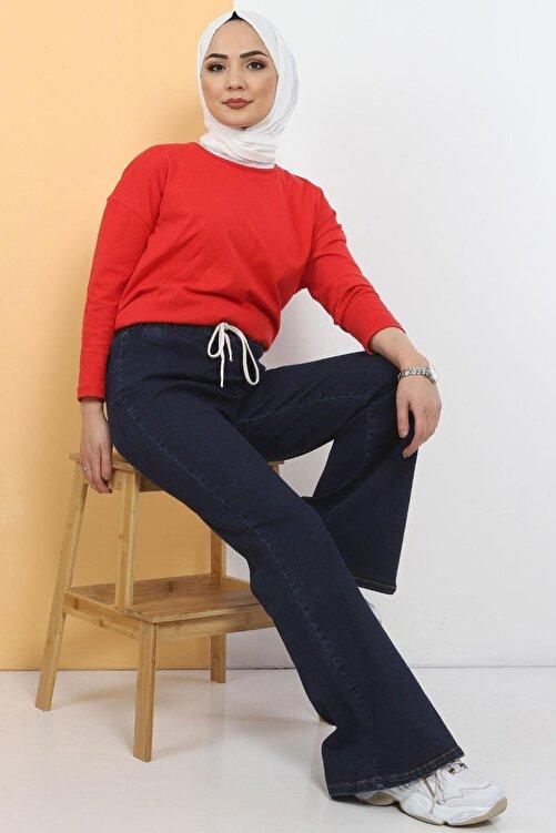 Tesettür Dünyası Ispanyol Paça Kot Pantolon Tsd22014 Koyu Mavi 2