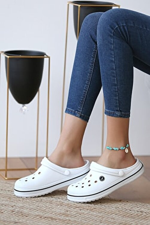 Pembe Potin Unisex Beyaz Sandalet 1