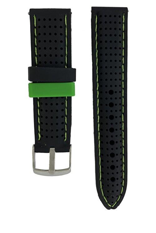Trendburada Huawei Watch Gt2 Pro Saat Uyumlu Siyah Renk Yeşil Dikişli Delikli Spor Silikon Saat Kordonu Kayışı 1