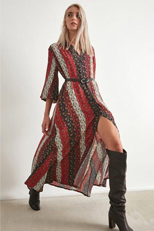 Say Kadın  Çizgili Etnik Desenli Gömlek Elbise 2