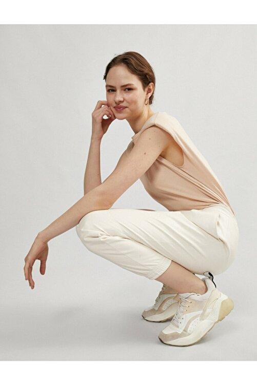 Koton Kadın Ekru Deri Jogger Pantolon 2
