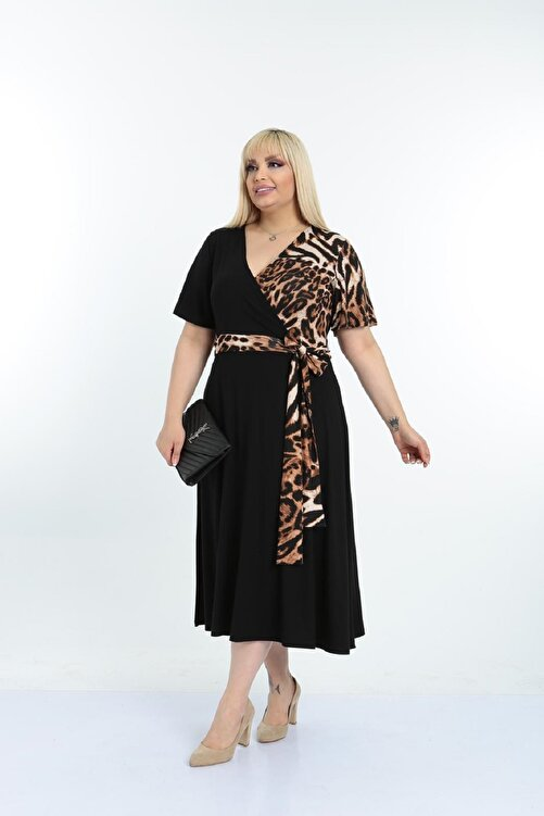 Şirin Butik Kadın Siyah Leopar Desenli Kruvaze Yaka Büyük Beden Elbise 1