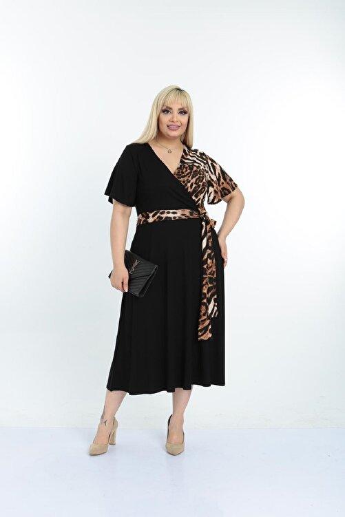 Şirin Butik Kadın Siyah Leopar Desenli Kruvaze Yaka Büyük Beden Elbise 2