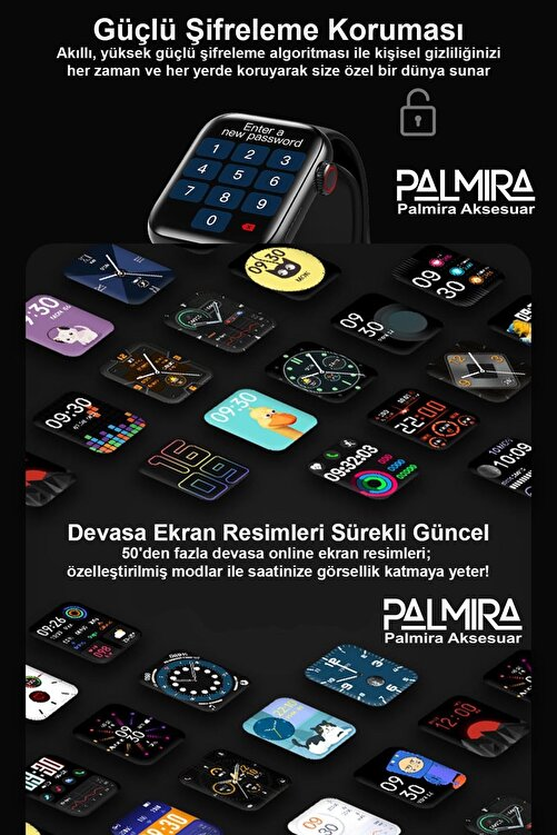 Black Dice Yeni Nesil Tam Dokunmatik Bölünebilen Ekran Akıllı Saat (donmayan Menü) Gümüş 2