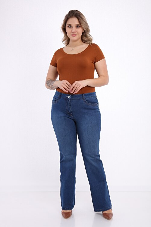 Era Lisa Ispanyol Paça Likralı Büyük Beden Jeans Pantolon 2
