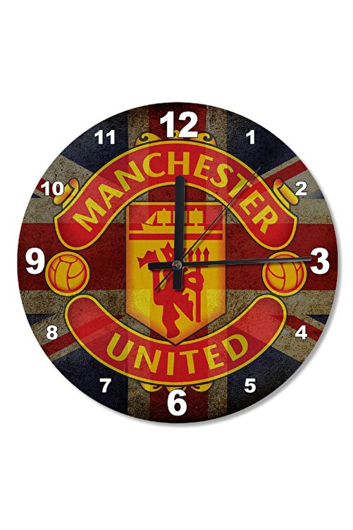 Cakatablo 50 Cm Çap Manchester United FC Ahşap Duvar Saati 1