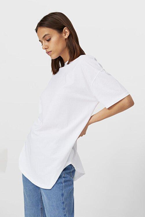 Stradivarius Kadın Beyaz Uzun Basic T-shirt 1